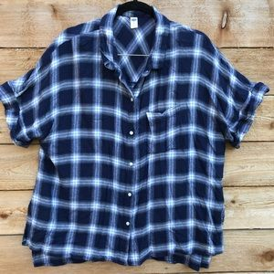 Blue Plaid shirt sleeve flannel